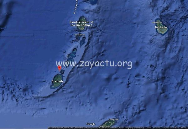 Carte du volcan le Kick'em Jenny à Grenade
