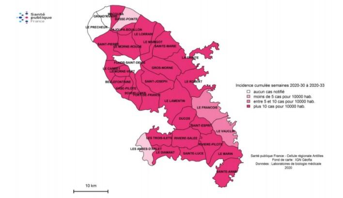 Les communes touchées par la dengue 22 août 2020