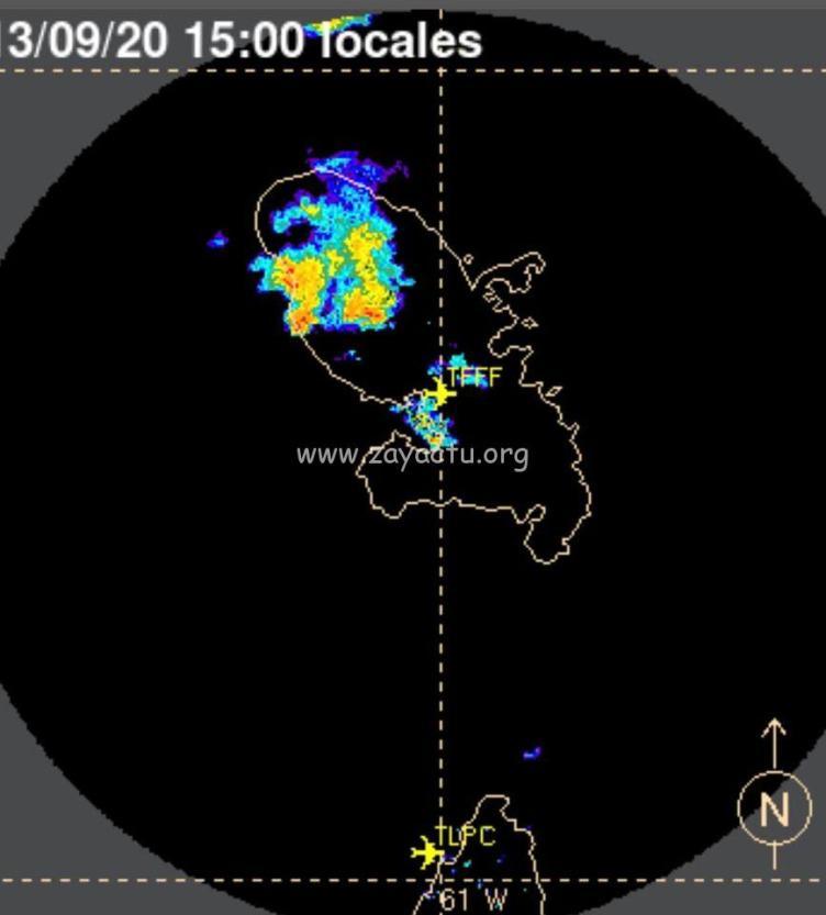 De fortes pluies localisées dans le nord à 15 heures en Martinique.