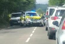 Photo de Violent choc frontal sur la route des Trois-Îlets entre deux voitures dont une du SAMU