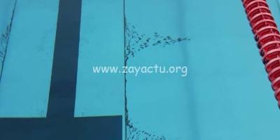 Cendres volcaniques à la piscine du Lamentin