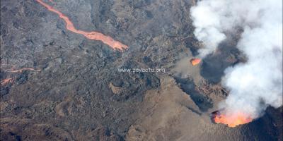 Eruption du Piton de la Fournaise sur l'île de la Réunion.