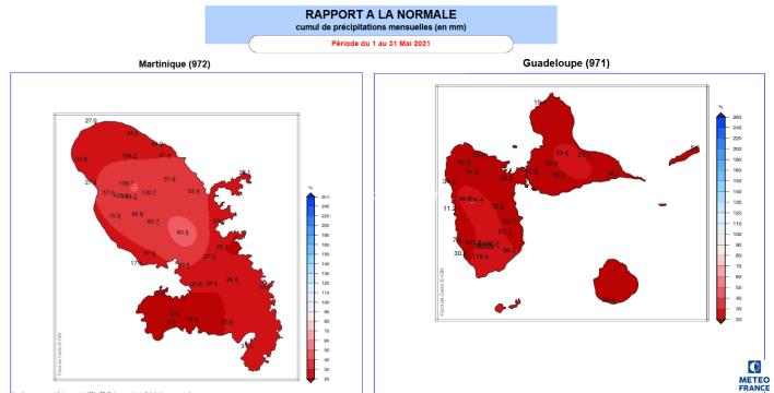 Cumul de pluie en Martinique et en Guadeloupe en mai 2021.