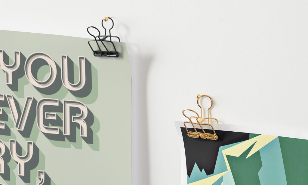 to hang prints with binder clips