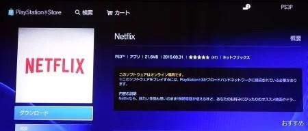 PSのNETFLIXアプリ