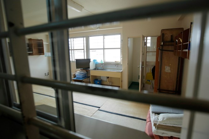 A shared cell is seen through a barred window at Nagasaki Prison in Isahaya, Nagasaki Prefecture, Japan, on Thursday, March 12, 2015.  Photographer: Kiyoshi Ota/Bloomberg  *** HOLD FOR STORY BY KANOKO MATSUYAMA ***