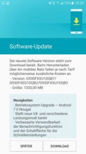 Galaxy S7: update on Android 7.0 for devices by 1 & 1 will be delivered (image: André)