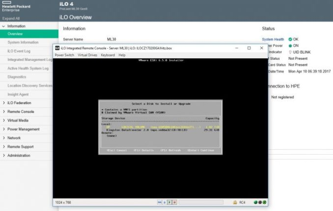 while installing the hard drive is selected, on vSphere 6.5 should be installed (screenshot: Thomas Joos).