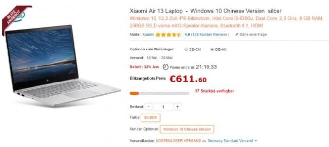 de.gearbest.com: Xiaomi MI notebook air 13 (screenshot: ZDNet.de)