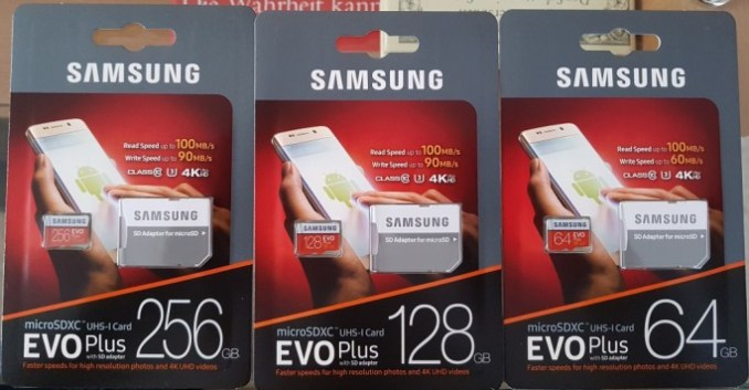 Samsung EVO plus increases with 256, 128 and 64 GByte (image: ZDNet.de)
