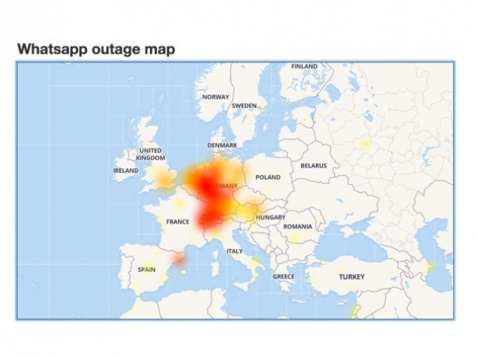 Whatsapp: outage lasted two hours (screenshot: ZDNet.de)