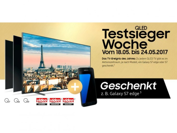 Samsung QLED TV buyers get Galaxy S7 or S7 edge free (screenshot: ZDNet.de)