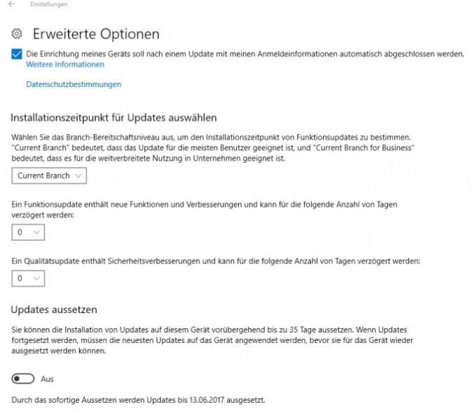 updates can be used in Windows creators update from 10 (screenshot: Thomas Joos).