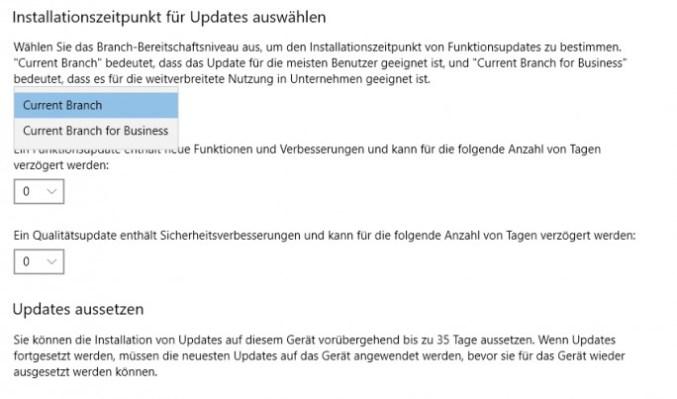 Windows 10 creators update allows more flexible control of updates (screenshot: Thomas Joos).