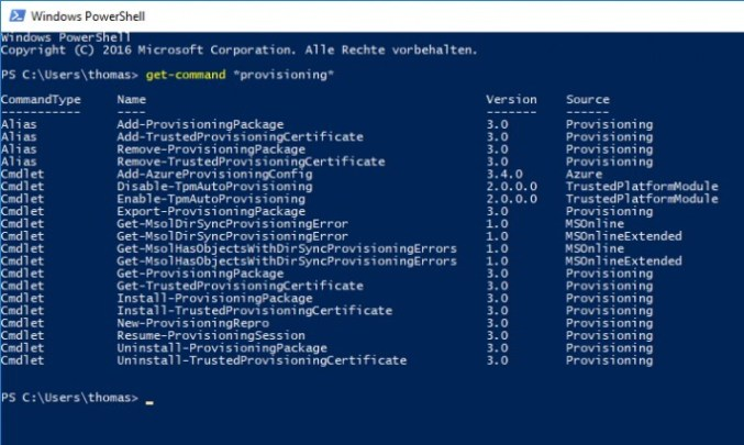 Windows 10 version 1703 features along with the Windows configuration designer many PowerShell for Windows 10 deployment (screenshot: Thomas Joos).