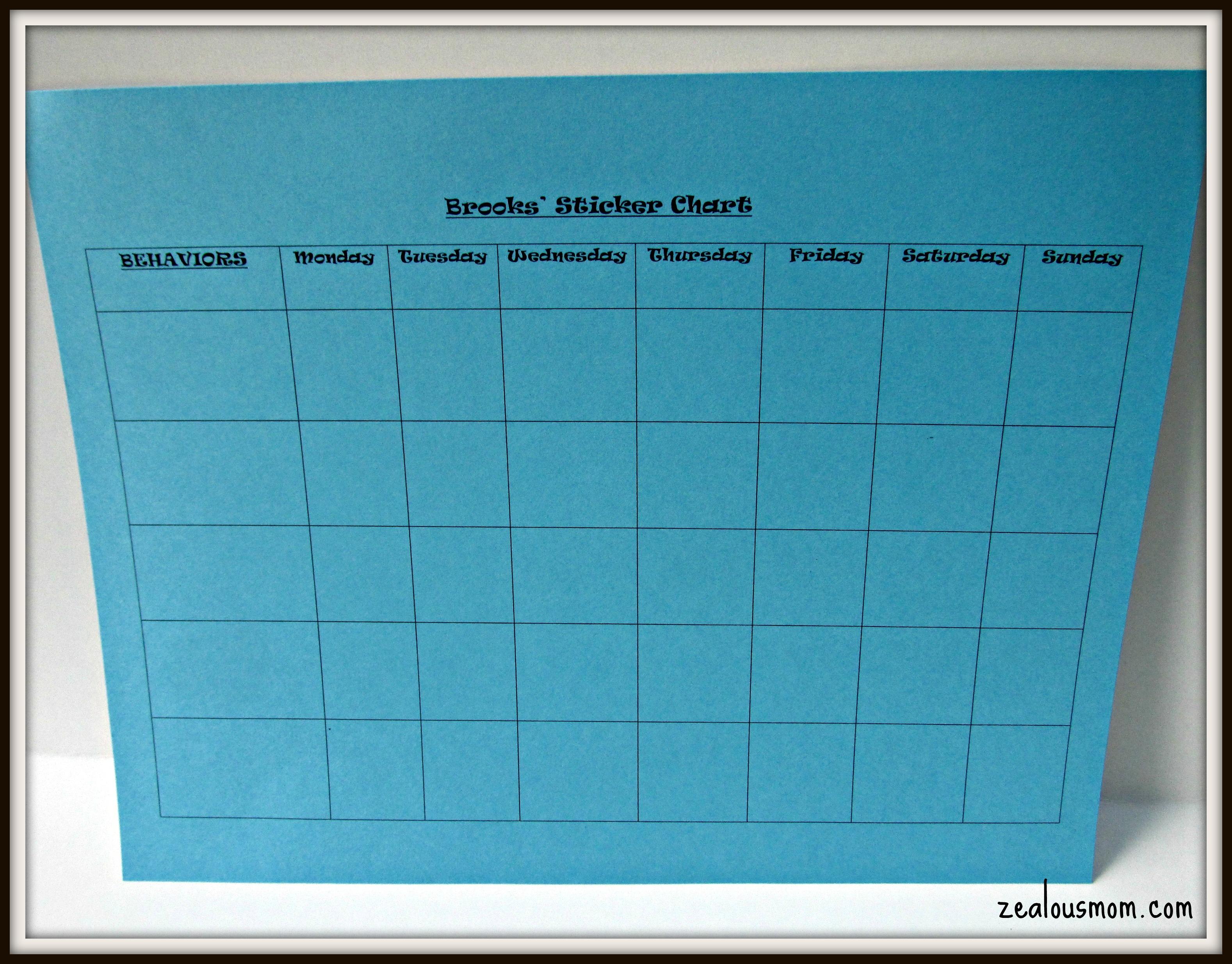 Blank Sticker Chart  Blank Sticker Chart