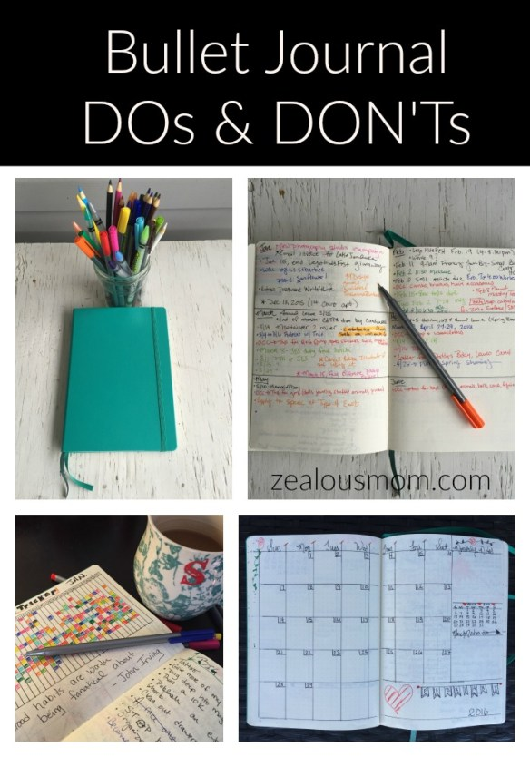 Do you use the Bullet Journal system? Check out this list of DOs and DON'Ts and see how they compare to yours! #BuJo #BulletJournal @zealousmom.com