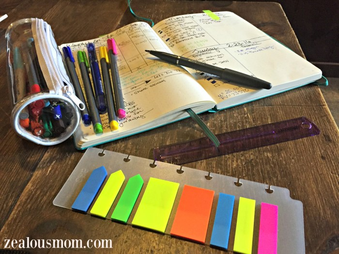 Information about Bullet Journal Supplies @zealousmom.com