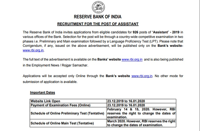 RBI Assistant Recruitment 2019-2020