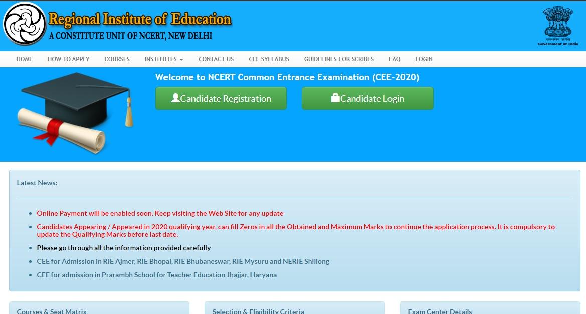 NCERT CEE 2020 Online Registration