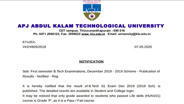 KTU B.Tech S1 Result