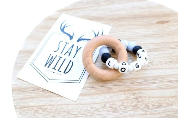 Silicone and Wood Ring Teether - PERSONALISED NAME