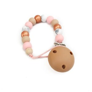 Silicone Dummy Clip - Rose Gold, Oatmeal and Rose Quartz
