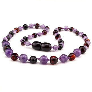 Amber NECKLACE Baby Amethyst & Cherry | 32cm