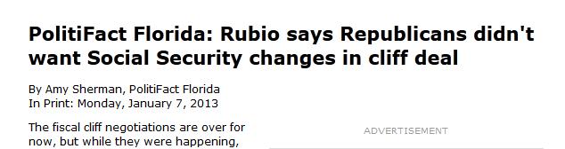 Tampa Times headline Rubio Tweet jan 2013