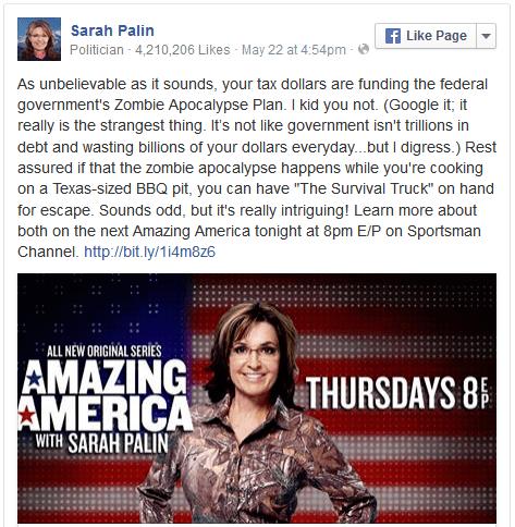 FB Palin zombie apocalypse