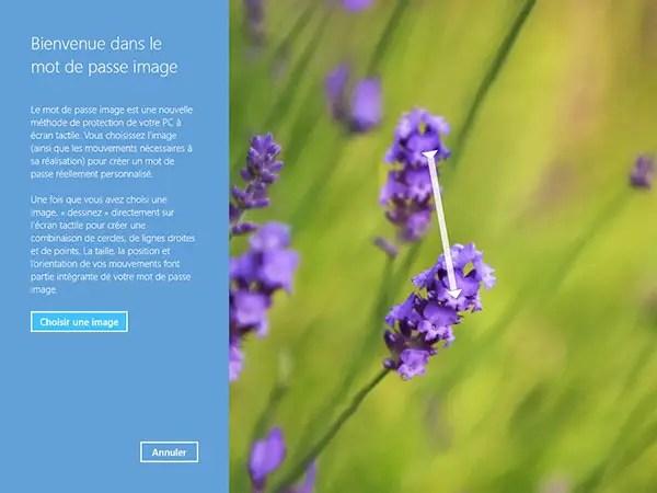 Choix d'une image pour le mot de passe image de Windows