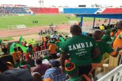 Zambian soccer team supporters in Nairobi