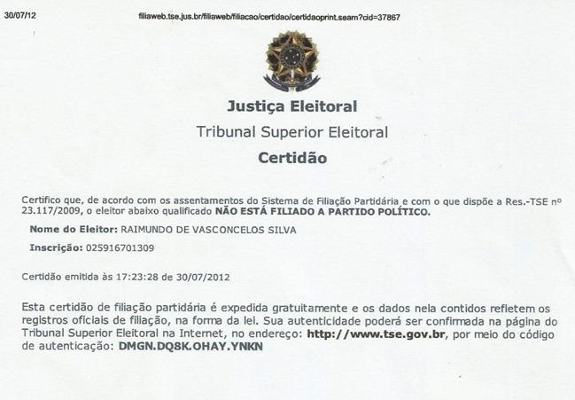Certidão de filiação do vereador Raimundo de Vasconcelos - PT