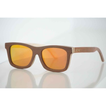 Bengal Tiger HANDMADE sungalsses from recycled skateboard wood frame with TAC high quality polarized lenses offering UV 400 protection.