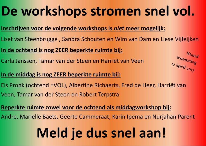De workshops stromen al vol 12.04.2017