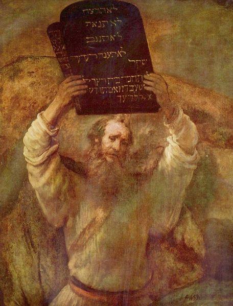 מתן תורה, ציור מעשה ידי רמברנדט, משנת 1659.