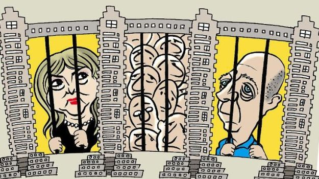 קריקטורה (2014) מאת ניסים חזקיהו, המתארת את אולמרט וזקן בין בנייני הולילנד [ויקישיתוף]