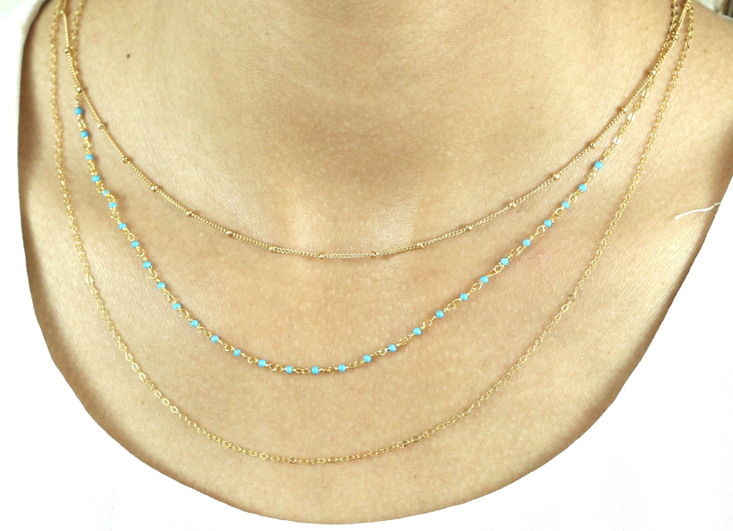 a346702f7e4b5 Tiny balls necklace 14k Gold Fill, Sterling Silver, Rose Gold / Layering,  Dainty Beaded Satellite Chain