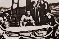Jesus wird in das Linnen gelegt
