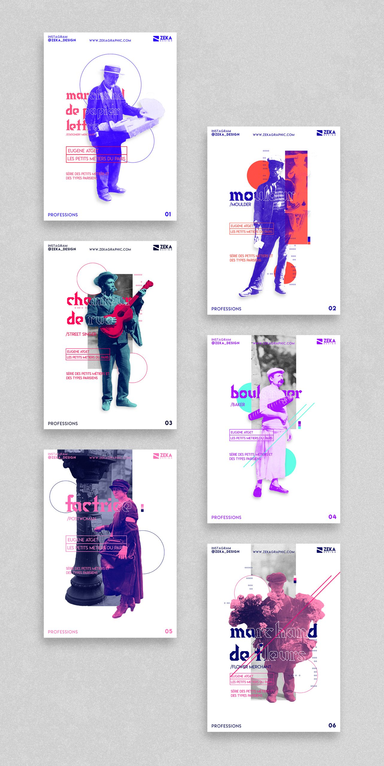 2020 Professions White Poster Design Collection Zeka Design