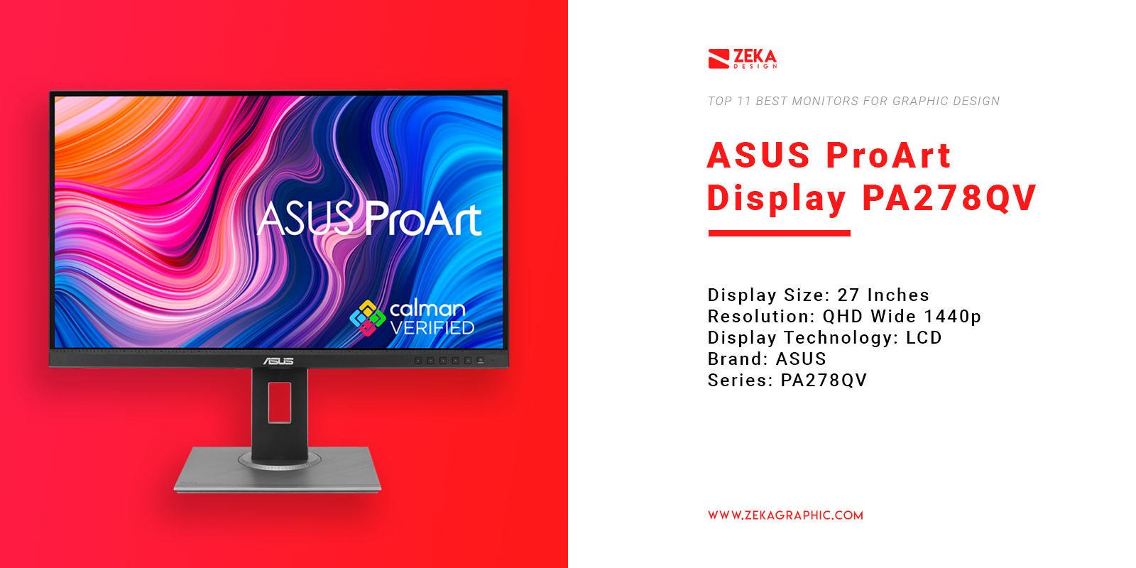 ASUS ProArt Display PA278QV Monitor for Graphic Design
