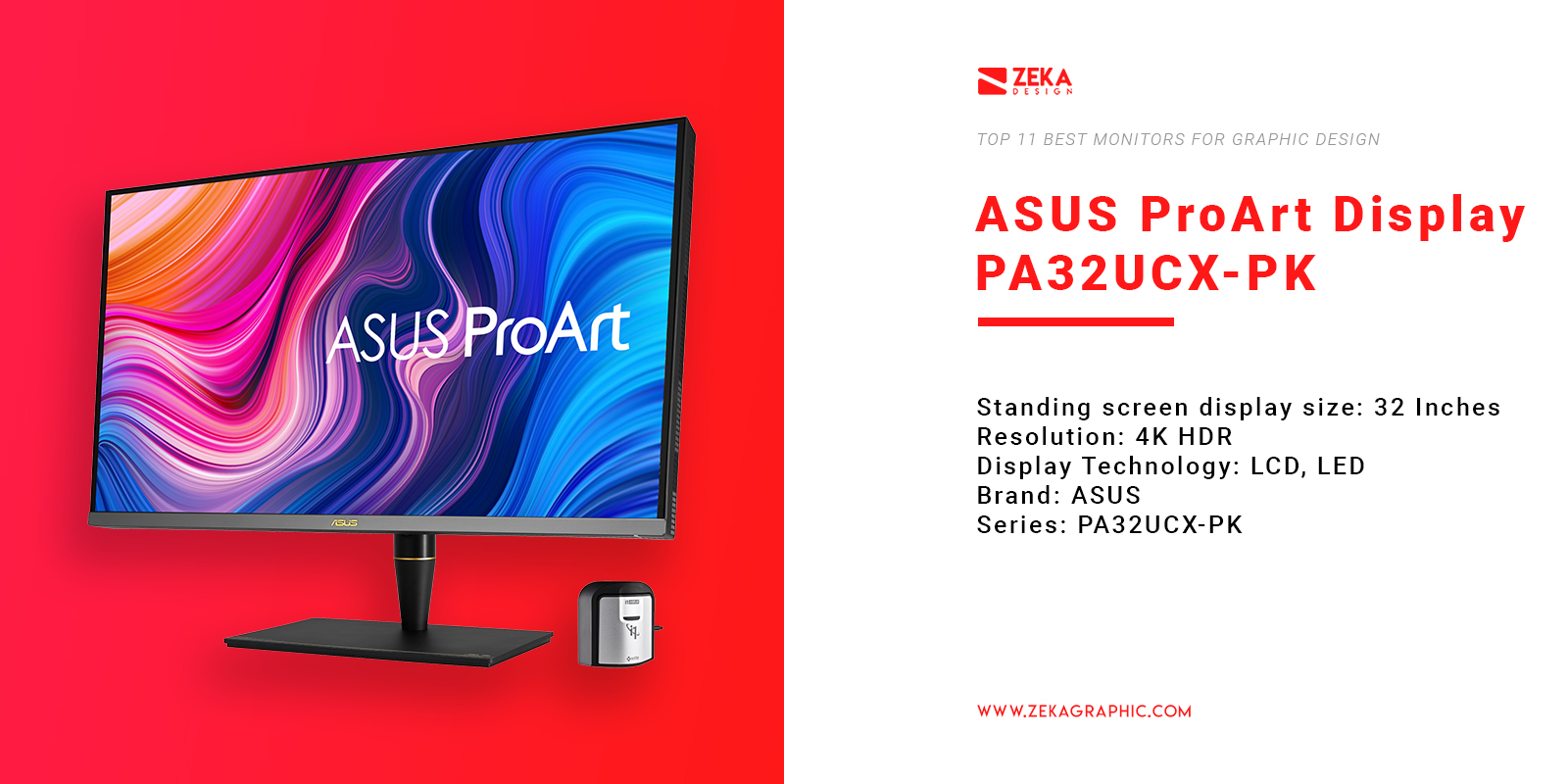 ASUS ProArt Display PA32UCX-PK 4K Monitor for Graphic Design