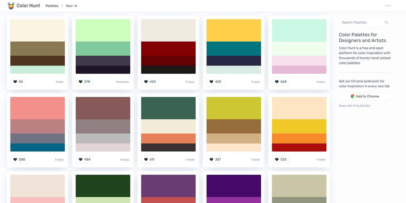 Best Online Tool Color Palette Generator Color Hunt for Graphic Design