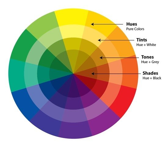 Color Wheel With Hues and Tints in Graphic Design