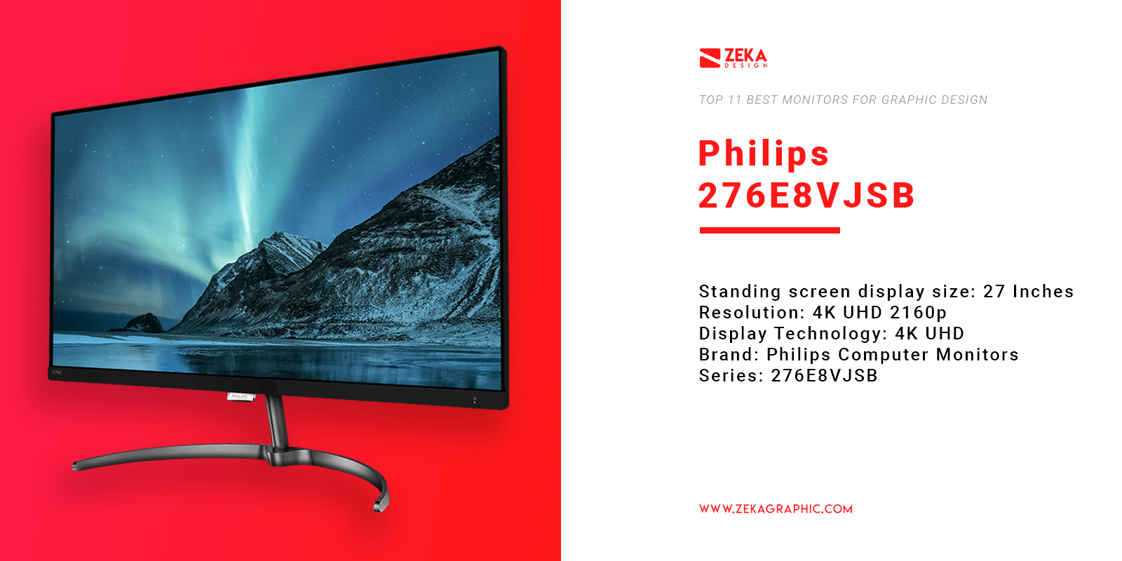 Philips 276E8VJSB Monitor for Graphic Design