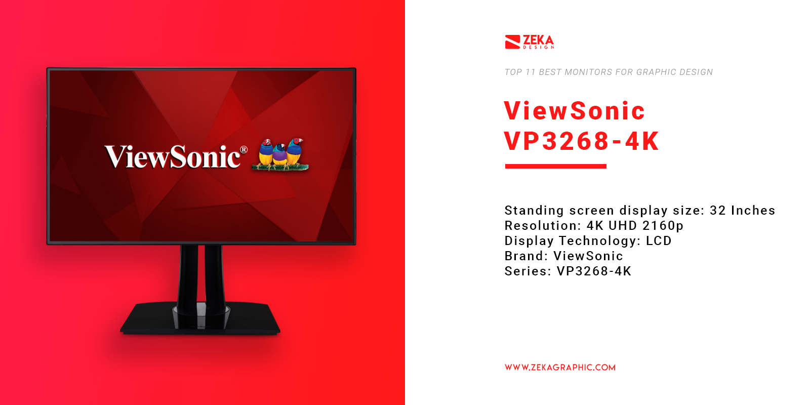 ViewSonic VP3268-4K Monitor for Graphic Design