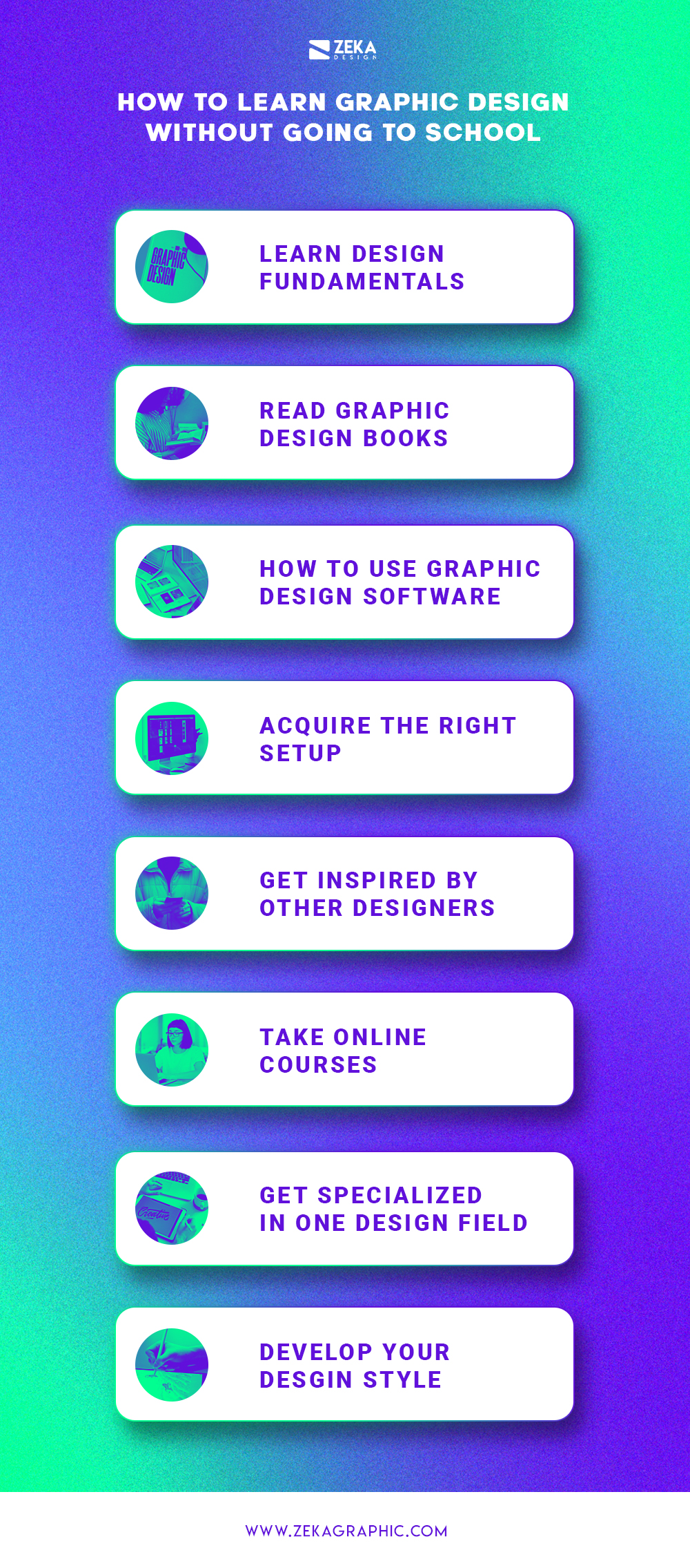 8 Tips How To Learn Graphic Design Without Going To School Infographic