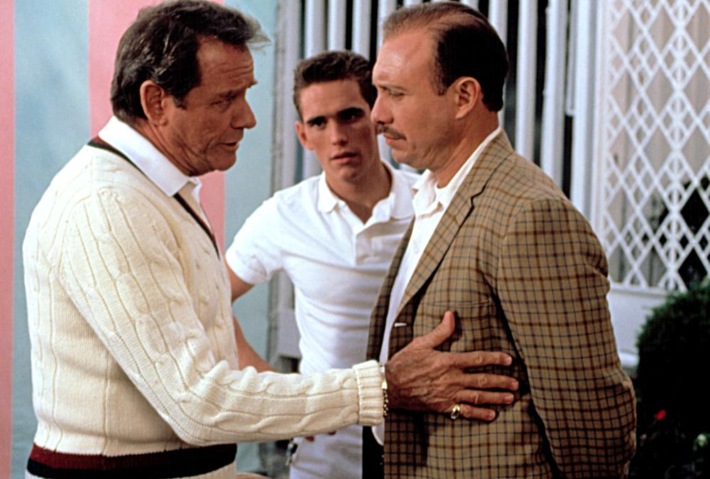 Richard Crenna, Matt Dillon, and Hector Elizondo in The Flamingo Kid (1984)
