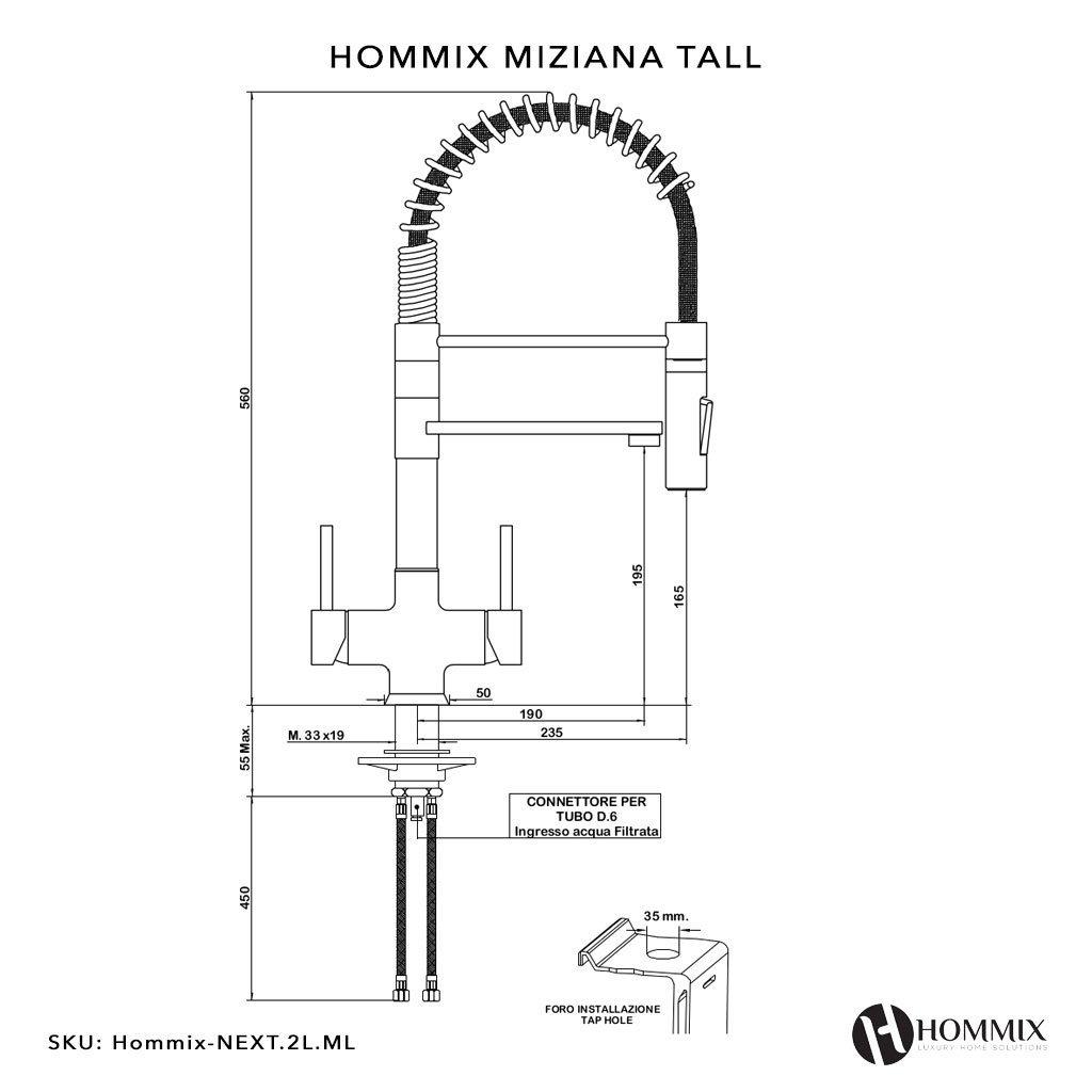 Hommix Miziana Tall Chrome 3 Way Tap Triflow Tap Pull