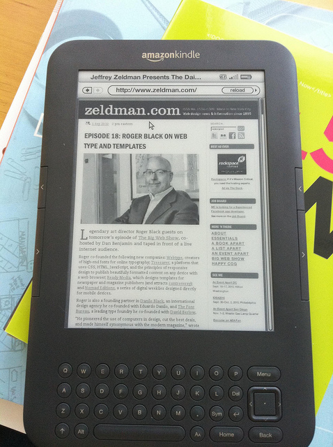 Zeldman.com as seen on Kindle